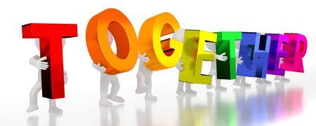 Together - colorful letters - 3D illustration Stockfoto