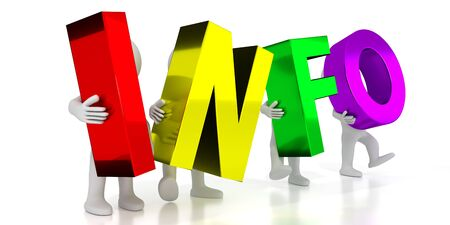 Info - colorful letters - 3D illustration Stockfoto