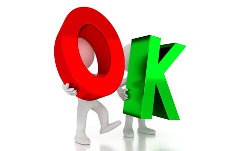 OK - colorful letters - 3D illustration