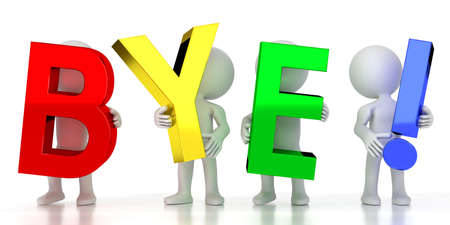 Bye! - colorful letters - 3D illustration