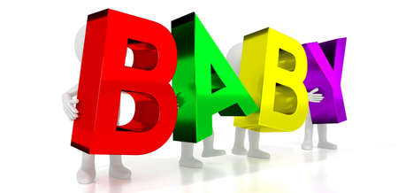 Baby - colorful letters - 3D illustration Stock Photo