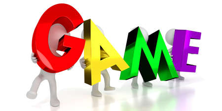 Game - colorful letters - 3D illustration Stock Photo