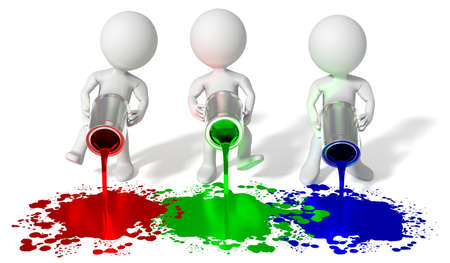 RGB colors - red, green, blue, cartoon characters - 3D illustration Foto de archivo - 151336886