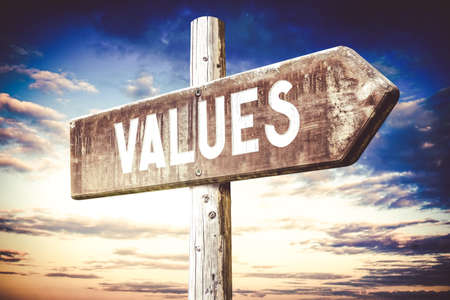 Values - wooden signpost, roadsign with one arrow