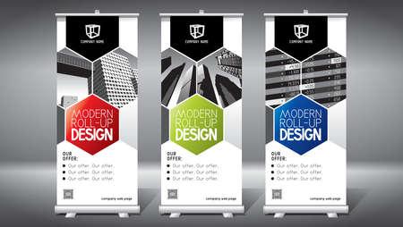 Roll-up template, design (85x200 cm) - modern office buildings, skyscrapers Vektoros illusztráció