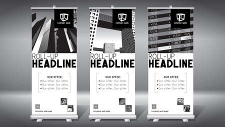 Roll-up template, design (85x200 cm) - modern office buildings, skyscrapers Foto de archivo - 152312092
