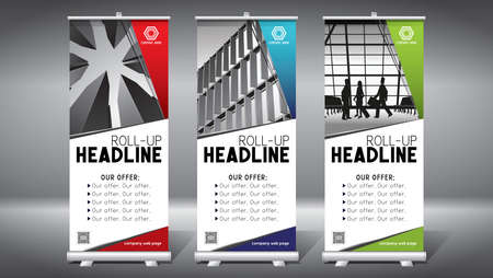 Roll-up template, design (85x200 cm) - modern office buildings, skyscrapers Vectores