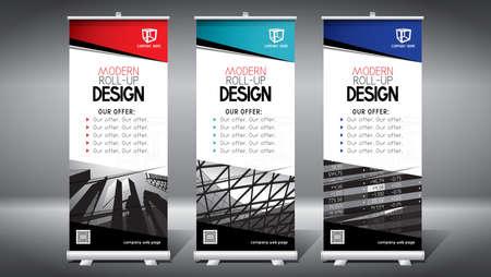 Roll-up template, design (85x200 cm) - modern office buildings, skyscrapers Foto de archivo - 152328682