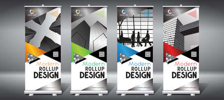 Roll-up templates (85x200 cm) - modern office buildings, skyscrapers