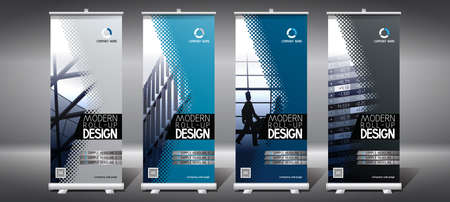 Roll-up templates (85x200 cm) - modern office buildings Vectores
