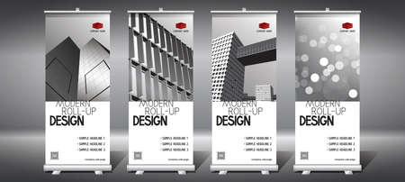 Roll-up templates (85x200 cm) - modern office buildings, skyscrapers Foto de archivo - 152668135