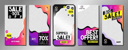 Social media advertisement - sale templates - vector illustration, 16:9 proportions