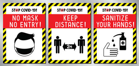 Face mask required, distance, sanitize - Covid-19, SARS-CoV-2 virus - vector illustration