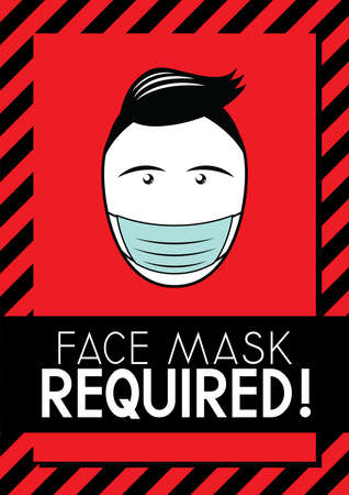 Face mask required - Covid-19, SARS-CoV-2 virus - vector illustration Vectores