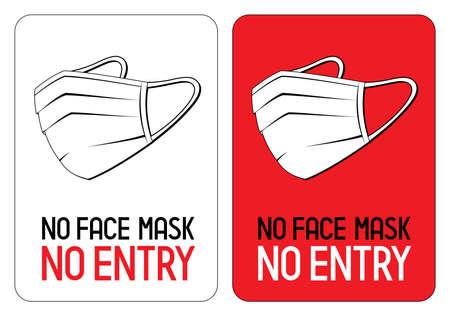 No face mask, no entry - Covid-19, SARS-CoV-2 virus - vector illustration Vectores