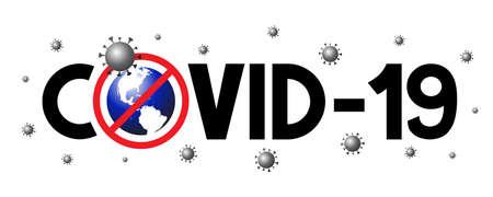 Covid-19, SARS-CoV-2 virus, world map - vector illustration