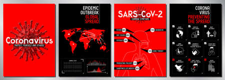 Stop coronavirus posters - Covid-19, SARS-CoV-2 - vector illustration