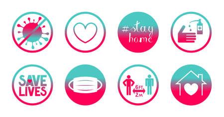 Coronavirus, Covid-19, SARS-CoV-2 - stay home and save lives icons - vector illustration