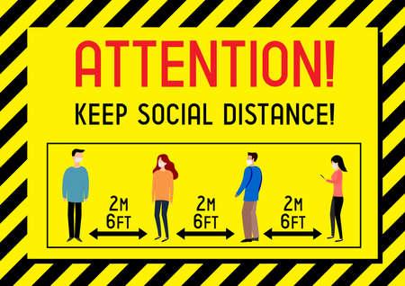 Keep social distance - Covid-19, SARS-CoV-2 virus - vector illustration 向量圖像