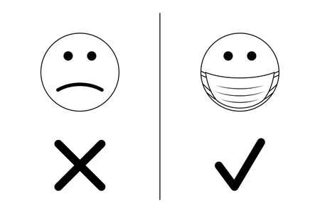 Wearing face masks concept - Coronavirus, Covid-19, SARS-CoV-2 - vector illustration