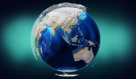 World map - Asia and Australia side - 3D illustration