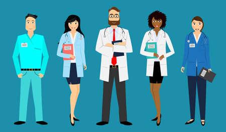 Medical staff - doctors, nurses - vector illustration Vektoros illusztráció