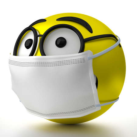 Emoticon with glasses wearing face mask - 3D illustration
