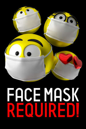 Face mask required poster, emoticons - 3D illustration
