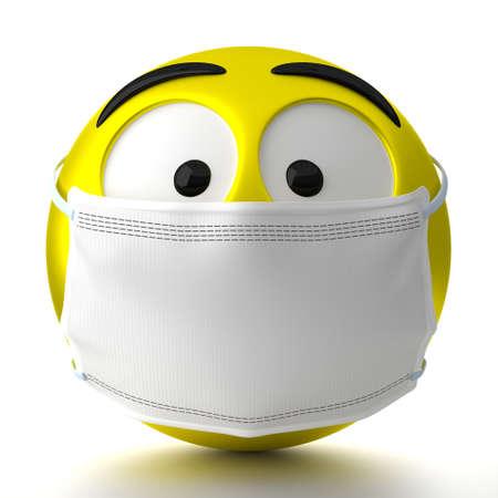 Emoticon wearing face mask - 3D illustration