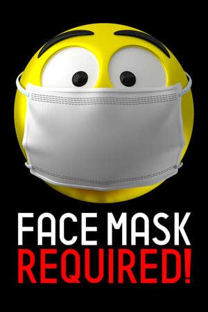 Face mask required poster, emoji - 3D illustration