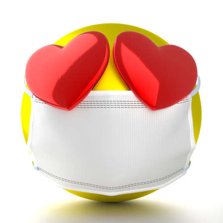 Emoticon with hearts wearing face mask - 3D illustration