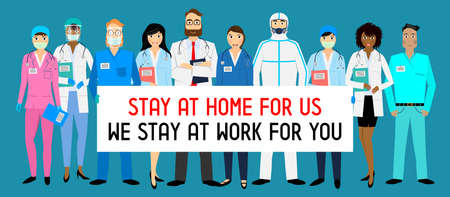 Stay at home for us, we stay at work for you - coronavirus prevention, vector illustration Vektorové ilustrace