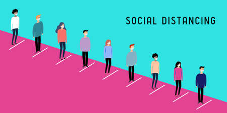 Social distancing, coronavirus prevention - vector illustration  イラスト・ベクター素材