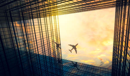 Jet plane plying in business district area, office buildings - 3D illustration