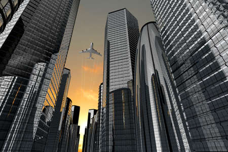 Airplane plying in business district area, skyscrapers - 3D illustration