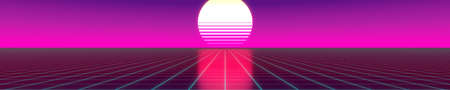 3D violet and pink retro, futuristic 80's design - sun and grid.