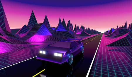 3D violet and pink retro, futuristic 80's design - car on a road Stock Photo