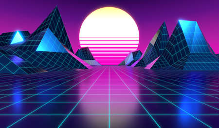 3D violet and pink retro, futuristic 80's design - sun, grid and mountains