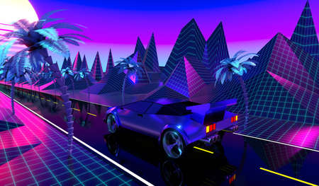 3D violet and blue retro, futuristic 80's design - car on a road