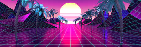 3D violet and pink retro, futuristic 80's design - sun, mountains and palm trees
