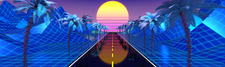 3D violet and blue retro, futuristic 80's design - sun, mountains and palm trees