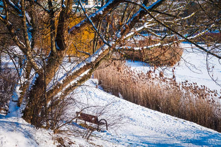 Frozen lake covered with snow in winter Stockfoto