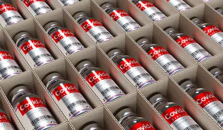 Covid-19 / SARS-CoV-2 / coronavirus vaccine ampoules in a box - 3D illustration