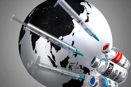 Covid-19 / SARS-CoV-2 / coronavirus vaccine ampoules and syringes, world map in background - 3D illustration