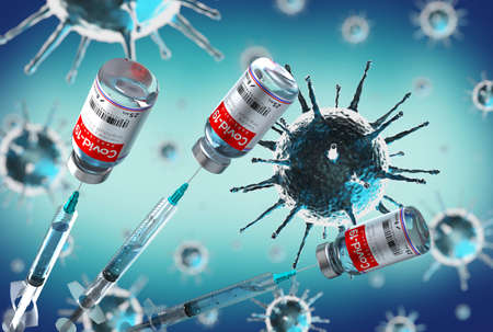 Covid-19 / SARS-CoV-2 / coronavirus vaccine ampoules and syringes, virus cells in background - 3D illustration Banque d'images