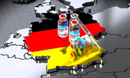 Covid-19 / SARS-CoV-2  / coronavirus vaccination in Germany - country shape, ampoules, syringe - 3D illustration