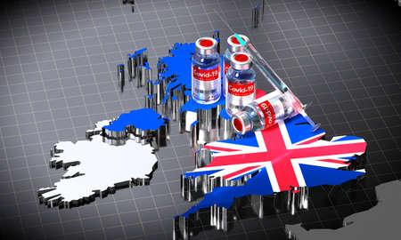 Covid-19 / SARS-CoV-2  / coronavirus vaccination in United Kingdom - country shape, ampoules, syringe - 3D illustration Фото со стока
