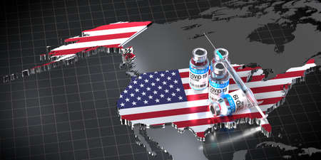 Covid-19/SARS-CoV-2/coronavirus vaccination in the USA - country shape, ampoules, syringe - 3D illustration Banque d'images