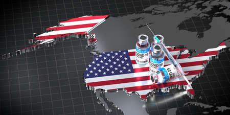 Covid-19/SARS-CoV-2/coronavirus vaccination in the USA - country shape, ampoules, syringe - 3D illustration Фото со стока