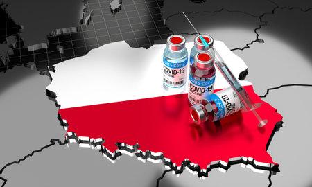 Covid-19 / SARS-CoV-2  / coronavirus vaccination in Poland - country shape, ampoules, syringe - 3D illustration